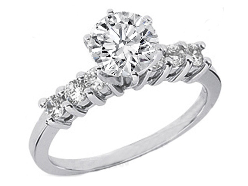 Round Diamond Engagement Ring Setting with six side stones 03 tcw
