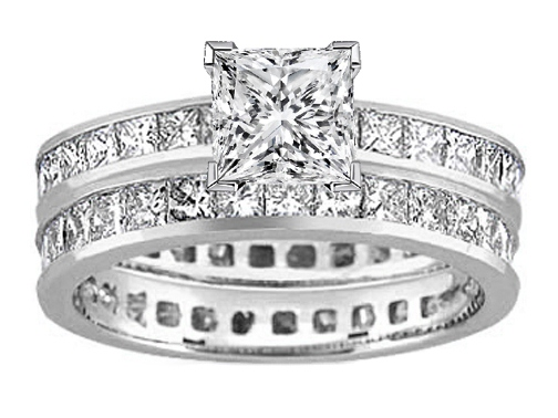Princess Diamond Eternity Engagement Ring & matching wedding band Bridal Set 6.29 tcw. Platinum