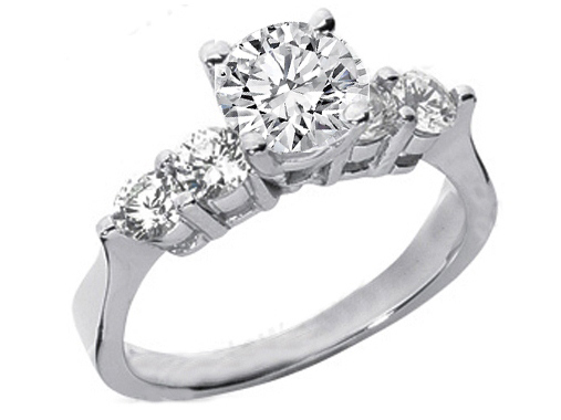 Four Stone Diamond Engagement Ring  0.40 tcw. In 14K White Gold