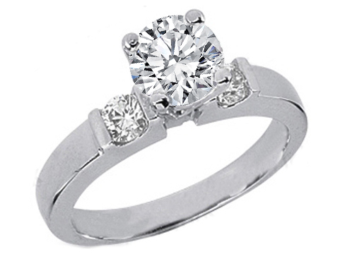 Round Diamond Engagement Ring Setting with two round diamonds side stones