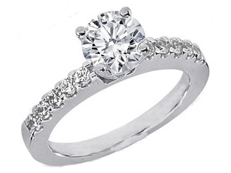 Ten Stone Diamond Engagement Ring 0.3 tcw. 14K White Gold