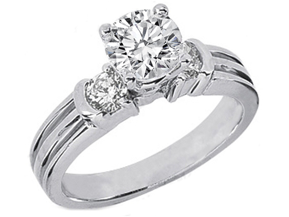 Semi-Bezel Diamond Engagement Ring 0.4 tcw. In 14K White Gold