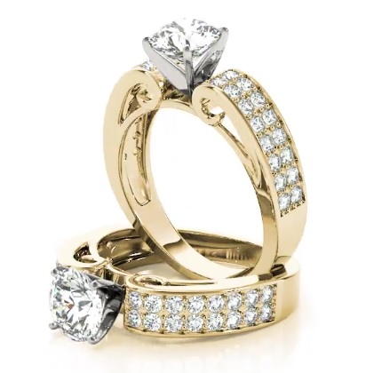 Double Row Cathedral Diamond Engagement Ring in Yellow Gold
