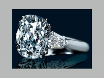 Engagement Ring -Cushion Diamond Engagement Ring Bullet Accents ...