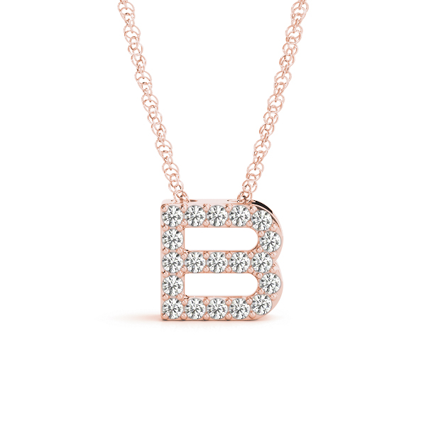 Diamond Letter B Pendant Rose Gold