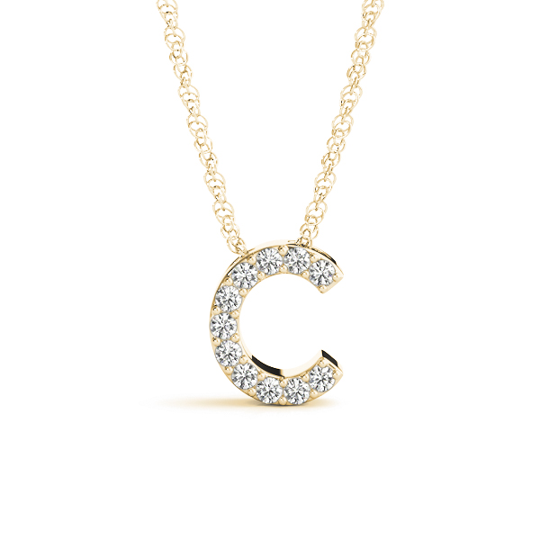 Diamond Initial C Pendant Yellow Gold