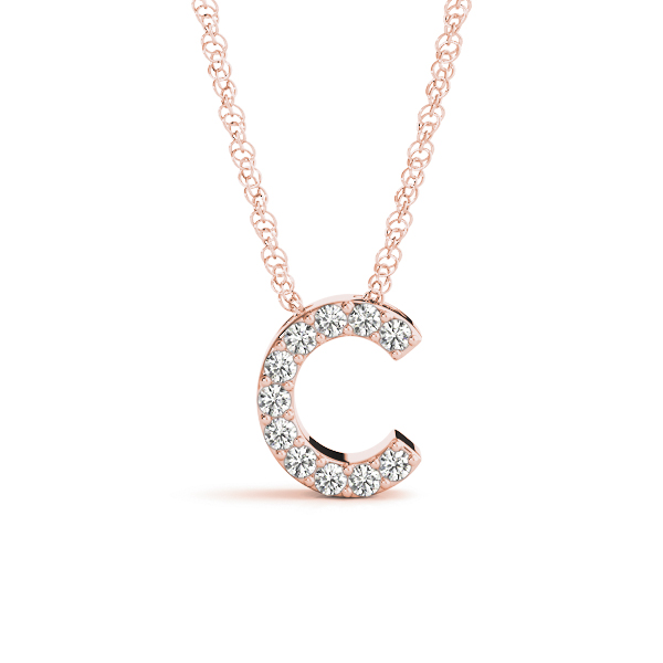 Diamond Letter C Pendant Rose Gold
