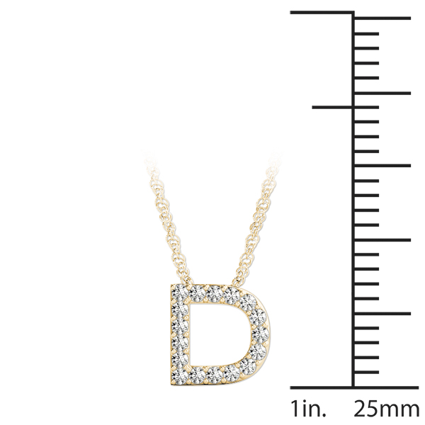Diamond Initial D Pendant Yellow Gold