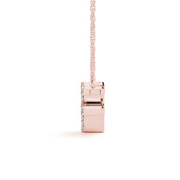 Diamond Letter F Pendant Rose Gold