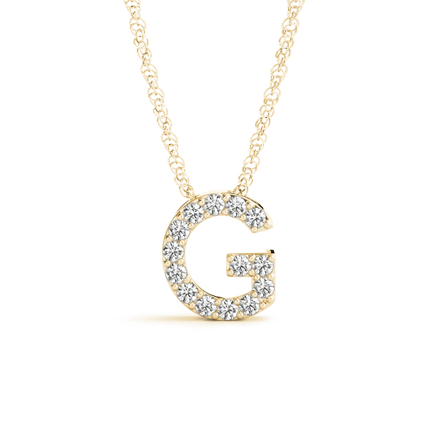 Diamond Initial G Pendant Yellow Gold