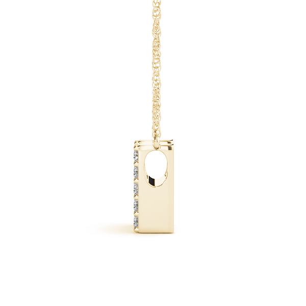 Diamond Initial H Pendant Yellow Gold