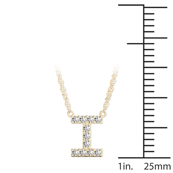 Diamond Initial I Pendant Yellow Gold