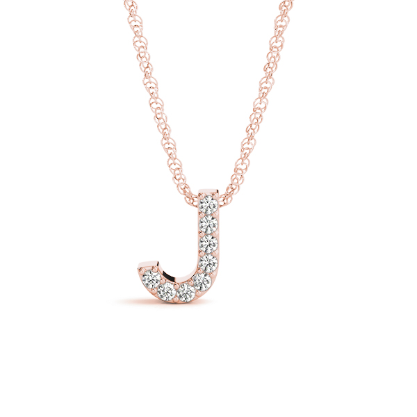 Diamond Letter J Pendant Rose Gold