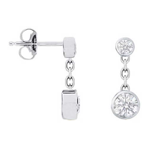 Round Diamonds Bezel Drop Earrings 1.00 tcw. In 14 Karat White Gold