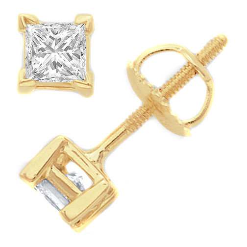 1/2 tcw. Princess-Cut Diamond Stud Earrings in 14 Karat Gold I SI2