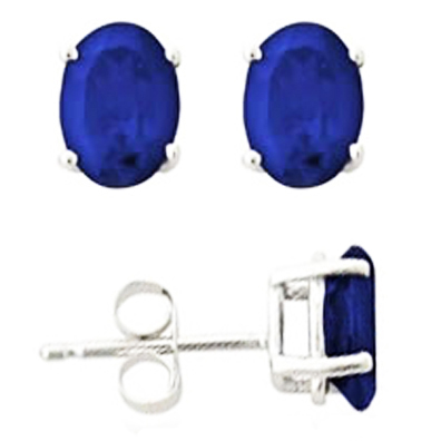 1.5 tcw. Oval Shaped Blue Sapphire in Martini 14 Karat White Gold Earrings