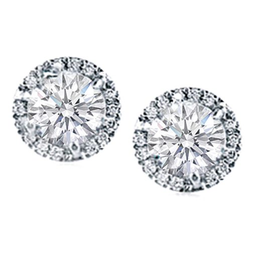 Round Diamond Prong Set Halo Earrings in 14 Karat White Gold H SI2, 0.60 tcw
