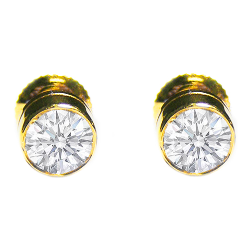 Round Diamond Bezel Set Stud Earrings 0.41 tcw. In 14 Karat Yellow Gold