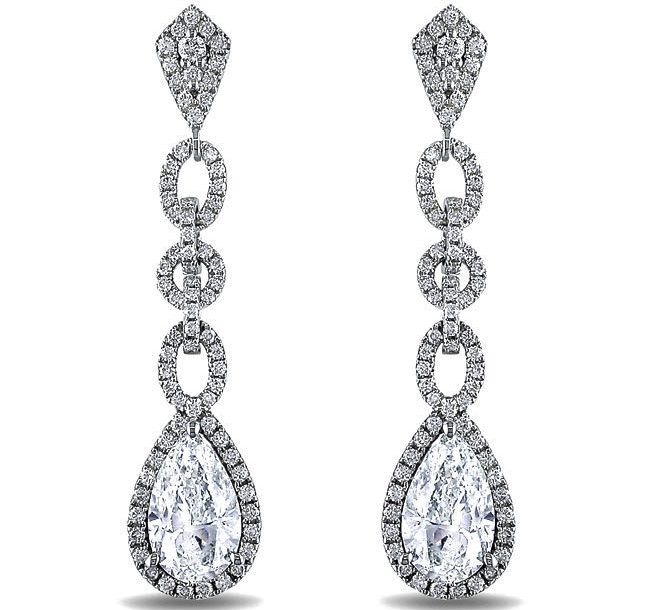 Pear Shape Diamond Halo Dangling Earrings 2.96 Carat TW in 14K White Gold