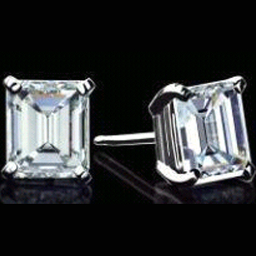 Emerald Cut Diamond Stud Earrings 1.42 tcw. F-G VS in 14 Karat White Gold