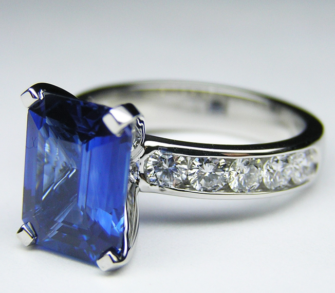 Blue Sapphire Emerald Cut Ring with Diamond Band, 2.8 Carat