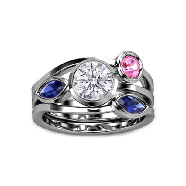 Round Diamond Vine Engagement Ring with Bezel Set Sapphires