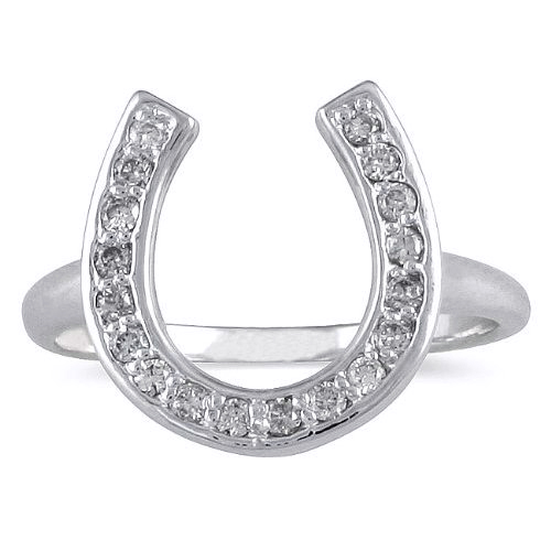 0.36 Carat White Gold Horseshoe Diamond Ring