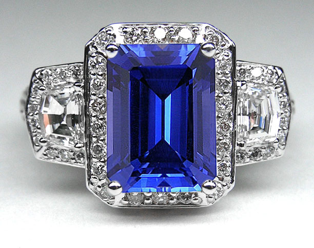 Emerald Cut Blue Sapphire Vintage Design Halo Ring with trapezoids side stones