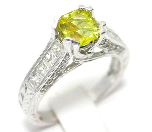 Radiant Yellow Sapphire 14K White Gold Ring