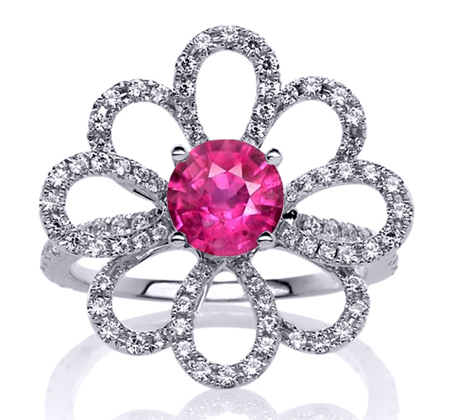 Pink Sapphire Daisy Flower Diamond Ring in 14 Karat White Gold 1.25 tcw