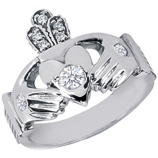 Claddagh Round Diamond Ring, White Gold