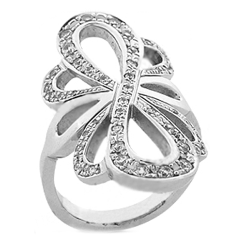 Infinity Bow Diamond Ring in White Gold