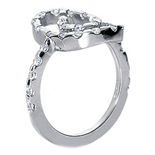 Round Diamond Swirl Bar Set Fashion Ring