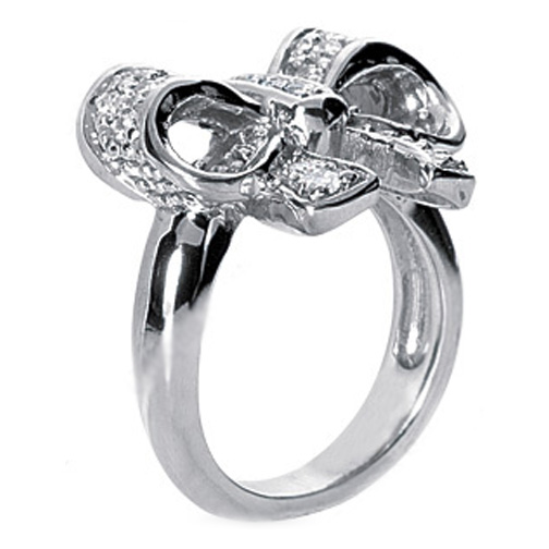 Diamond Bow Ring in White Gold