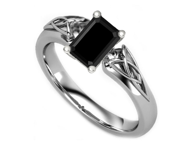 Black Emerald Diamond Triquetra Celtic Engagement Ring in 14K White Gold