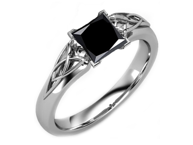 Black Princess Diamond Triquetra Celtic Engagement Ring in 14K White Gold