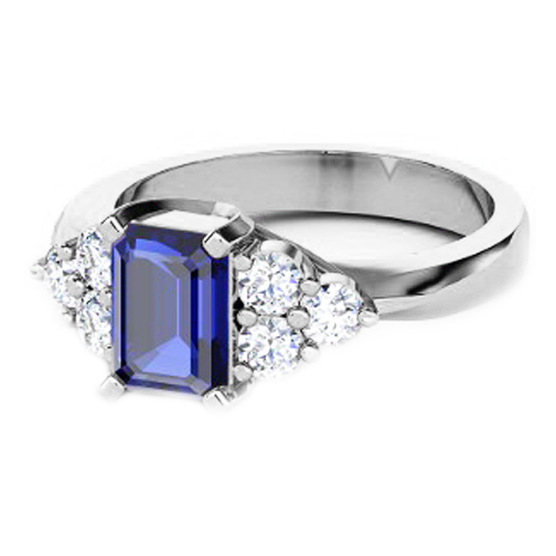 Emerald Cut Blue Sapphire and Round Diamond Ring in White Gold