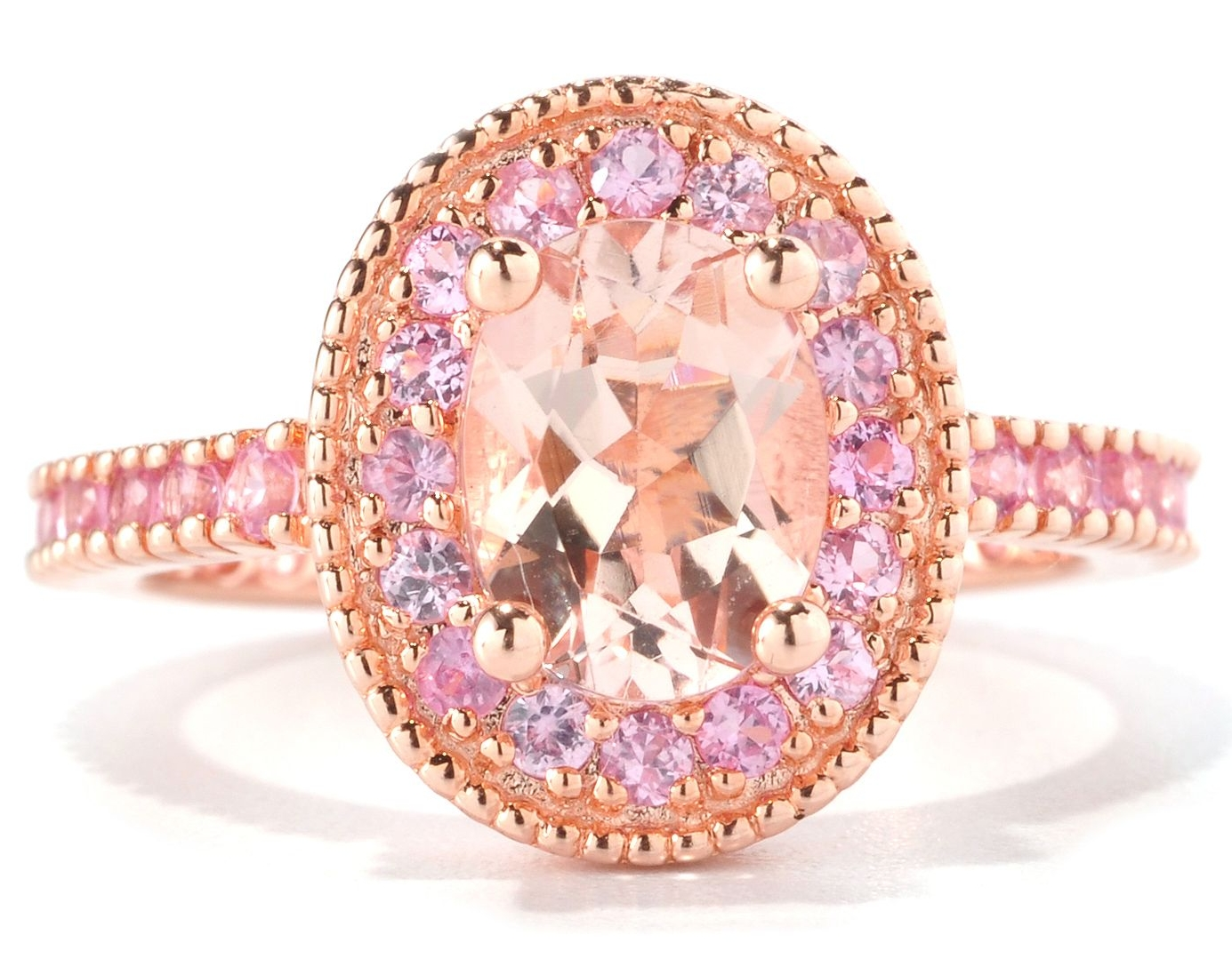 European Engagement Ring Oval Morganite Pink Sapphire Halo 14K