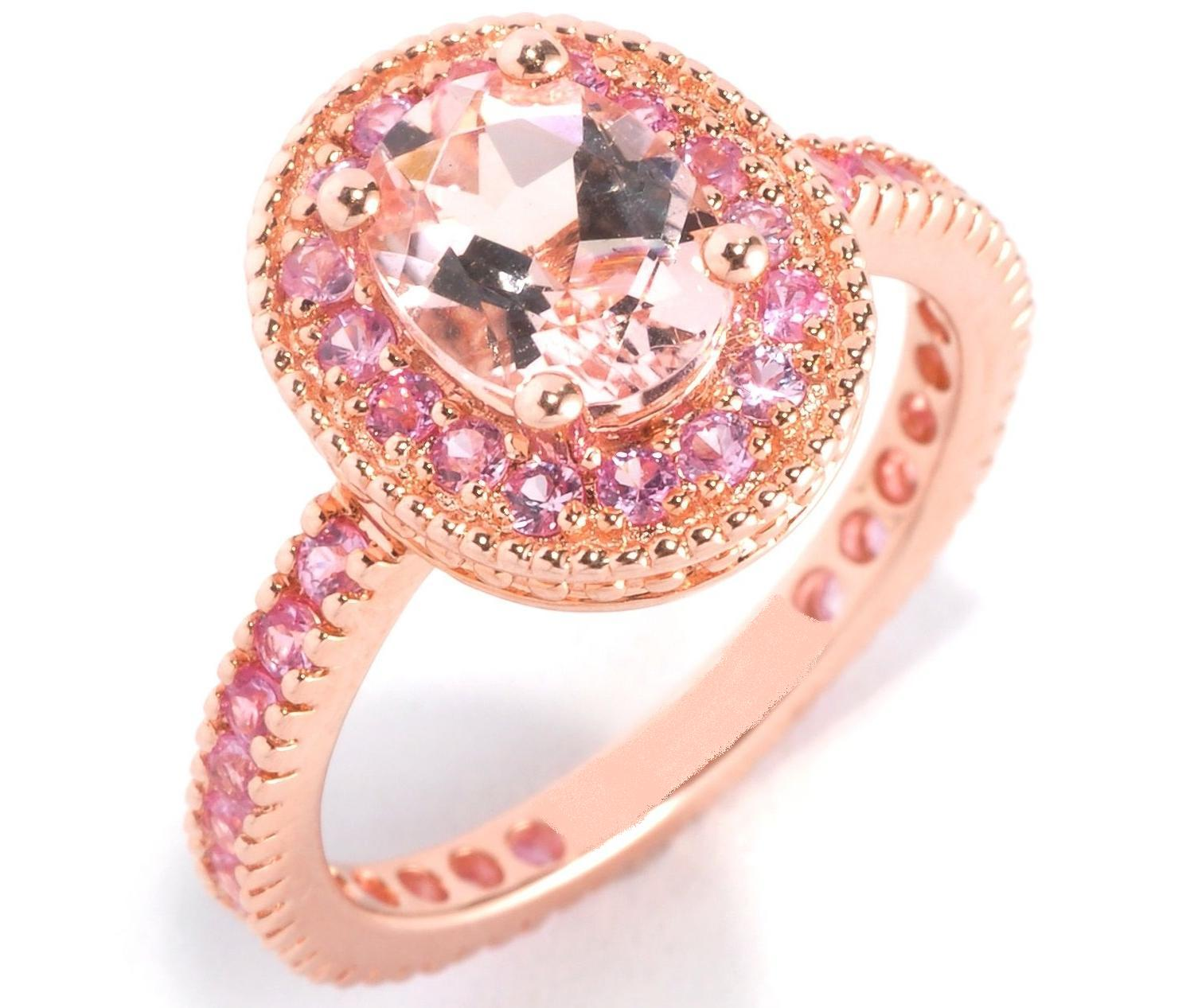 European Engagement Ring - Oval Morganite Pink Sapphire Halo 14K ...