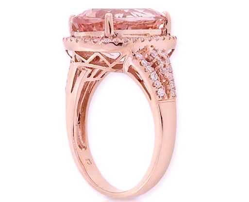 Oval Morganite Diamond Halo 14K Rose Gold Ring