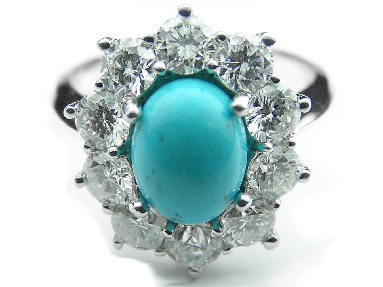 Oval Turquoise Flower Diamond Halo Ring in 14K White Gold