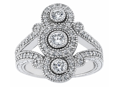 Vertical Three Stone Split Band Diamond Ring With Engraving