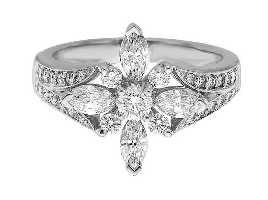 Floral Diamond Engagement Ring  1.1 tcw in 14K White Gold