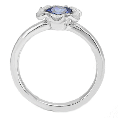 Solitaire Floral Blue Sapphire Engagement Ring