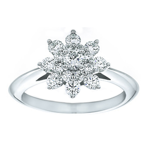 European Engagement Ring Flower Diamond Engagement Ring 063 Tcw
