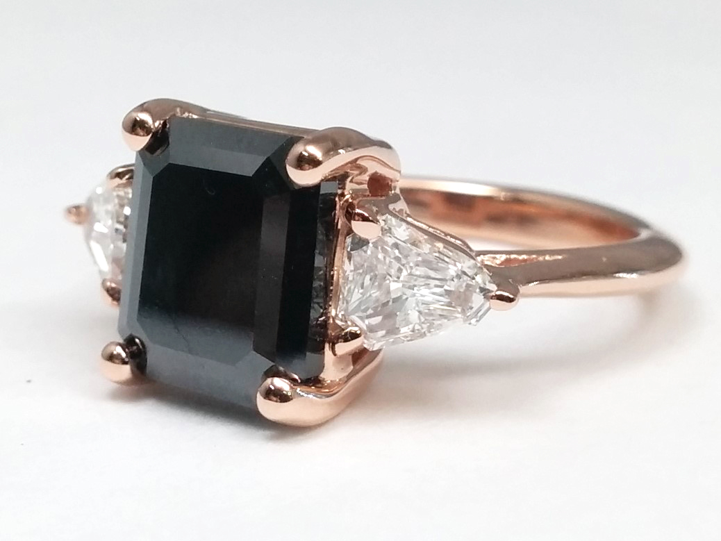 Large Emerald Cut Black Diamond With Shield Cut Side Diamonds