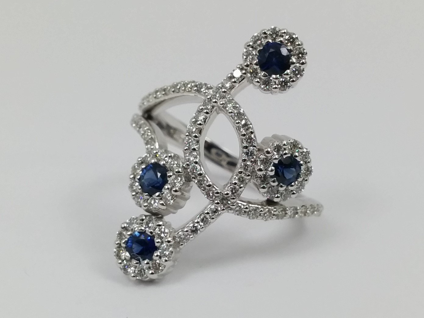 Flower Diamond and Blue Sapphire Ring