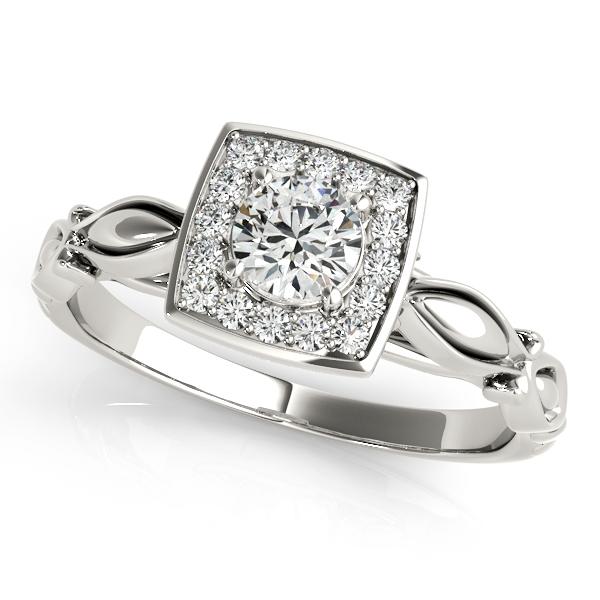 European Engagement Ring Round Diamond Square Halo Ring ER311