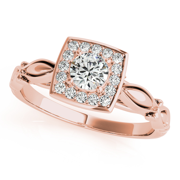 Round Diamond Square Halo Ring in Rose Gold