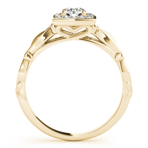 Round Diamond Square Halo Ring in Yellow Gold